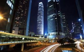 Картинка ночь, город, небоскрёбы