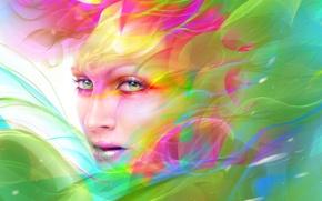 Картинка взгляд, краски, арт, абстракция, лицо, макияж, девушка, neville dsouza