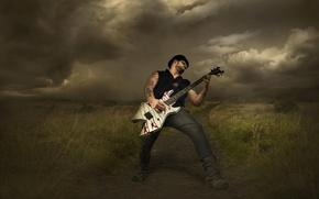 Картинка тучи, шторм, гитарист, рок