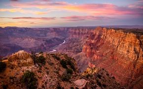 Обои США, камни, река, скалы, Grand Canyon, панорама, каньон, горы