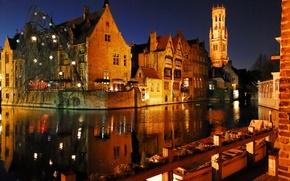 Картинка город, огни, вечер, Брюгге, Bruges by night