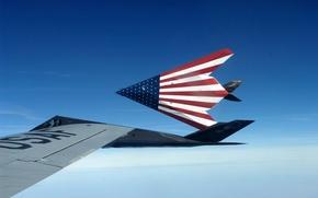 Обои флаг США, самолёт-невидимка, F-117, Nighthawks