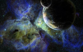 Обои звезды, планета, спутник, галактика