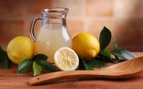 Картинка juice, lemon, fruit, pitcher, lemonade