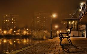 Обои осень, скамейка, ночной пейзаж