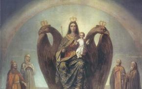 Обои россия была, есть и будет, самодержавие, святые, ореол, ребенок, икона, скипетр, двуглавый орел, корона, дитя, ...