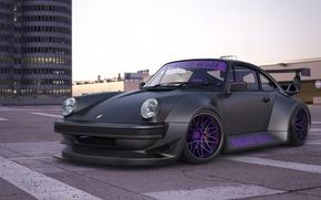 Обои car, машина, авто, улица, здания, 911, Porsche, чёрная, Порше, black, Turbo, avto, Турбо