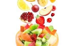 Картинка apple, яблоко, апельсин, киви, клубника, виноград, фрукты, банан, дольки, grape, fruit, orange, strawberry, гранат, pomegranate