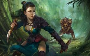 Обои поза, оружие, взгляд, арт, бамбук, мужчина, девушка, броня
