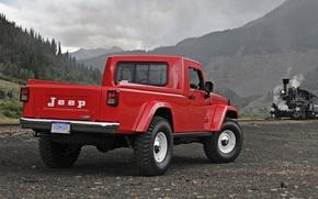 Картинка Concept, небо, красный, Концепт, Джип, вид сзади, пикап, Jeep, J-12, паравоз.горы