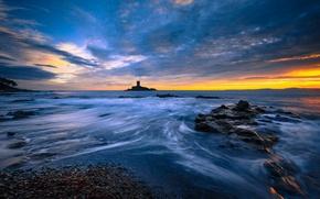 Картинка море, пляж, восход, остров, утро, залив