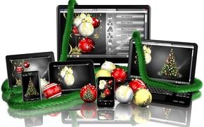 Картинка отражение, праздник, мишура, смартфон, монитор, планшет, белый фон, новый год, новогодние, шары, ноутбук, экран