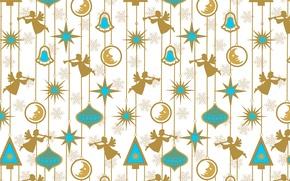 Картинка звезды, снежинки, праздник, рисунок, новый год, месяц, ангелы, украшение, текстуры, цепочки