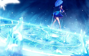 Картинка девушка, поза, магия, зонт, пентаграмма, art, kim hyung-tae, magna carta, darkangelcrisis, clare setilan