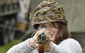 Обои целится, M1 Garand, девушка, каска, винтовка, шлем, самозарядная