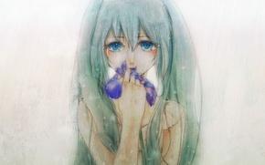 Картинка слезы, голубые глаза, серый фон, Hatsune Miku, длинные волосы, vokaloid, ирис