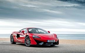 Картинка McLaren, тучи, 570S, берег, суперкар, макларен, море, небо