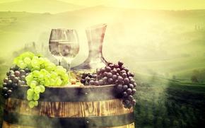 Обои луга, поля, бочка, виноград, туман, бокалы, кувшин, пейзаж