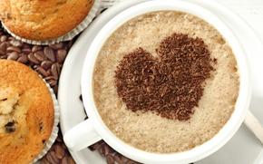 Картинка любовь, сердце, кофе, love, heart, cup, cupcake, кексы, beans, coffee