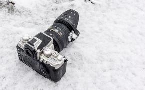 Картинка зима, снег, фон, фотоаппарат, объектив, Nikon 1 AW1