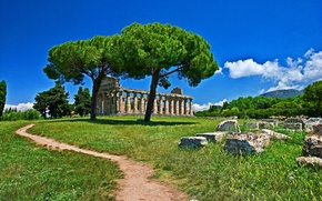 Картинка green, Italy, view, landscapes, ruins, architecture, ancient, temple, greek