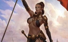 Картинка фентези, Девушка, меч, воин, арт