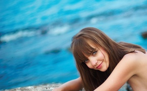 Картинка море, взгляд, девушка, улыбка, шатенка, amelie