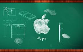 Картинка apple, доска, мел