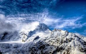 Картинка белый, небо, облака, снег, горы, скалы, hdr, вершина, россия, синее, софия, кавказ, хребет, etear
