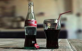 Картинка стакан, бутылка, coca-cola, кока-кола, кола, лимонад