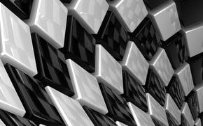 Обои кубы, белые, черные