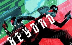 Картинка оружие, фантастика, надпись, арт, постер, персонажи, Star Trek Beyond, Стартрек: Бесконечность