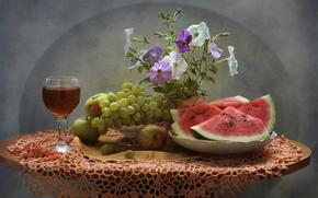 Картинка цветы, вино, арбуз, виноград