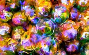 Обои шар, цветы, лепестки, отражение, линии