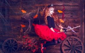 Картинка праздник, девочка, ведьма