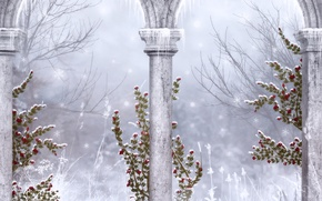 Картинка зима, снежинки, готика, сосульки, колонны, руины