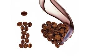 Обои зерна, кофе, любовь