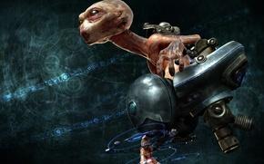 Обои голова, инопланетянин, фантастика, полёт, кресло, монстр