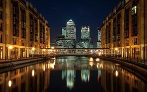 Картинка небоскребы, мост, London, дома, Англия, Лондон, город, ночь, река, England, Docklands