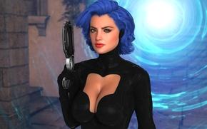 Обои портал, синие волосы, прическа, волосы, девушка, грудь, фантастика, костюм, пистолет