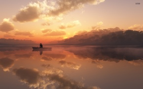 Картинка озеро, лодка, рыбак, утро