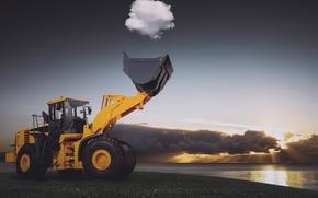 Картинка солнце, облака, озеро, трактор