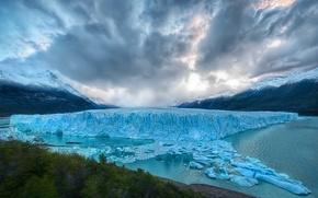 Обои айсберг, вода, горы, пейзаж, лес