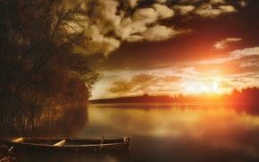 Картинка деревья, закат, тучи, Вода