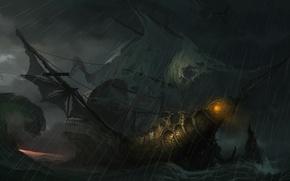 Картинка свет, шторм, волна, корабль, арт, паруса
