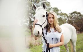Картинка девушка, фон, конь