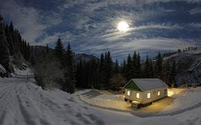 Обои луна, домик, свет, снег, ночь, зима, лес