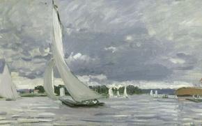 Картинка Клод Моне, картина, морской пейзаж, Парусник