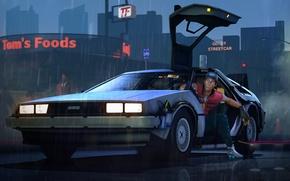 Картинка Назад в будущее, DeLorean, fan art, scout, team fortress, back to the future