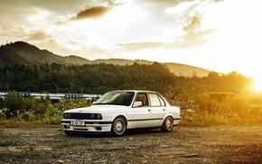 Картинка BMW, white, E30, BBS, 4doors